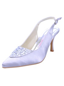 Elegantpark Pretty Satin Stiletto Heel Rhinestones Slingback Wedding/Evening Shoes