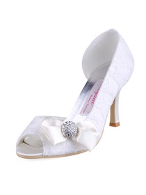 Elegantpark Lace Peep Toe Bowknot Rhinestone Wedding Evening Party Shoes