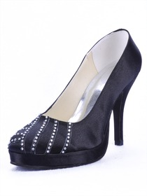 Elegantpark Black Satin Platforms Stiletto Heel Party Shoes