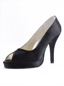 Elegantpark Peep Toe Stiletto Heel Satin Evening Shoes With Platform