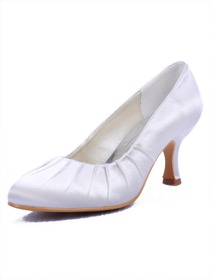 Elegantpark Round Toes Spool Heel Satin Bridal Shoes