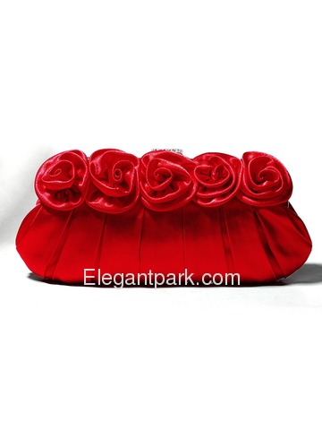 Gorgeous Flower Red Satin Graduation/Prom/Party Handbag