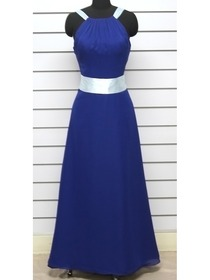 Royal Blue Fitted Ruched Straps Floor Length Chiffon Bridesmaid Dress with Ribbon