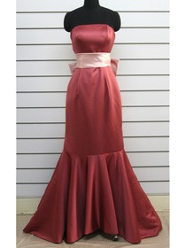 Watermelon Mermaid Fluted Sweep Train Satin Bridesmaid Dress With Ribbon