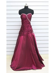 Burgundy A-line Ruched Sweetheart Taffeta Long Bridesmaid Dress