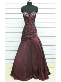 Brown Fit And Flare Sweetheart Floor-length Taffeta Prom Dress