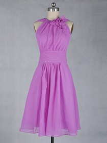 Fuchsia Fluted Choker Knee-length Chiffon Bridesmaid Dress