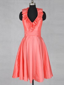 Watermelon A-Line Fluted Halter Knee-length Taffeta Bridesmaid Dress