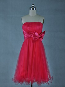 Red Ball Gown Fluted Cocktail Length Netting Cocktail Party Dress With Bow