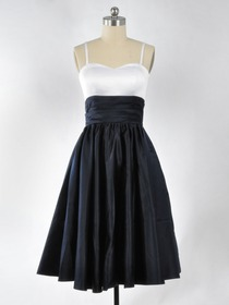 White Dark Navy A-Line Ruched Spaghetti Strap Sweetheart Knee-length Satin Bridesmaid Dress