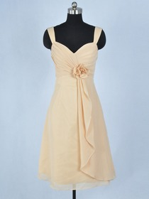 Champagne Draped Tank Top Knee-length Chiffon Short Bridesmaid Dresse