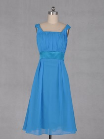 Blue Square Knee-length Chiffon Short Bridesmaid Dress