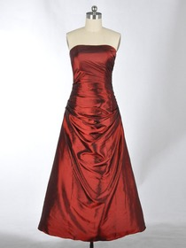 Burgundy A-Line Draped Sweetheart Taffeta Long Bridesmaid Dress