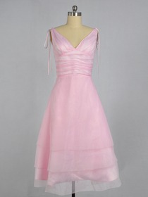 A-Line Pink V-Neck Knee-length Organza Bridesmaid Dress