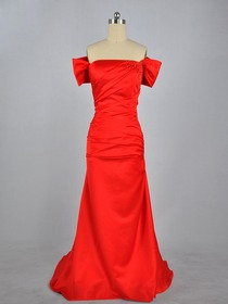 Red Sheath Off The Shoulder Satin Long Prom Dress