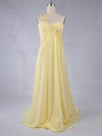 Daffodil Sheath Fluted One Shoulder Brush Train Chiffon Evening Dress