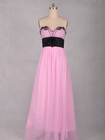 Pearl Pink A-Line Fluted Sweetheart Floor-length Chiffon Evening Dress