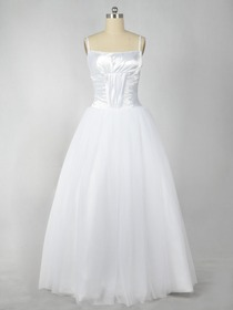 White Balloon Fluted Spaghetti Strap Bateau Satin Organza Prom Evening Dress
