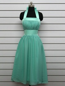 Light Green Ruched Halter Neck Knee Length Chiffon Bridesmaid Dress (6554)