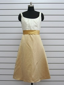 White And Gold Pencil Square Short Bridesmaid Dress