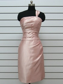 Pink Mermaid Asymmetrical One Shoulder Satin Long Bridesmaid Dress