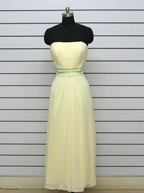 Daffodil Sheath/Column Strapless Chiffon Long Bridesmaid Dress