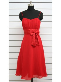 Red A-Line Spaghetti Strap Bow Ruched Tea-length Chiffon Formal Evening Dress