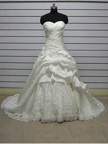 A-Line Ruched Sweetheart Court Train Charmeuse Elegant Wedding Dress (Leganes)