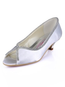 Elegantpark White Peep Toe Low Heel Satin Beading Evening Party Shoes