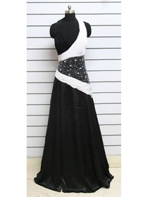 Black White A-line Plunging Halter Floor Length Elastic Silk-like Satin Formal Evening Dress