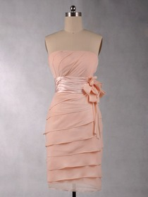 Pink Pencil Cocktail Length Chiffon Bridesmaid Dress With Ribbon