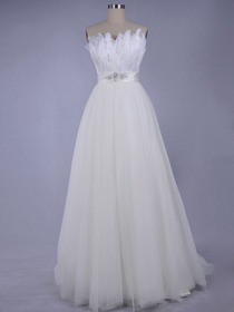 Ball Gown Fluted Strapless Sweetheart Netting Chic Wedding Dress (Primor)