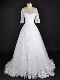A-Line Babydoll Half Sleeve Sweetheart Brush Train Netting Modern Wedding Dress (Pergola-1)