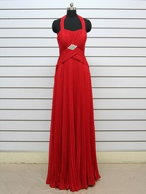 Red A-Line Ruched Halter Floor-length Chiffon Evening Dress