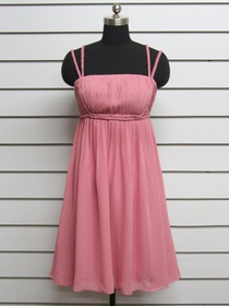 Watermelon Short Ruched Empire Spaghetti Strap Chiffon Bridesmaid Dress