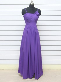 Lavender Sheath Floor Length Ruched Fluted Chiffon Bridesmaid Dress
