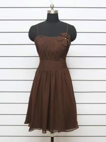 Brown Short Ruched Fluted Spaghetti Strap Chiffon Bridesmaid Dress