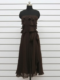 Brown Sheath Knee-length Strapless Tiered Fluted Chiffon Bridesmaid Dress