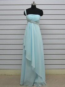 Light Sky Blue Apron Ruched One Shoulder Floor-length Chiffon Evening Dress