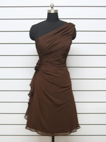 Chocolate A-Line One Shoulder Knee-length Chiffon Evening Party Dress