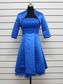 Royal Blue Knee-length Dress Strapless Satin Netting Bridesmaid Dress with Jacket