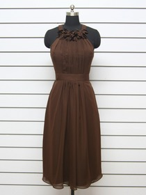 Chocolate Sheath Knee-length Choker Ruched Fluted Chiffon Bridesmaid Dress