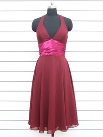 Burgundy A-line Knee-length Halter Fluted Chiffon Bridesmaid Dress