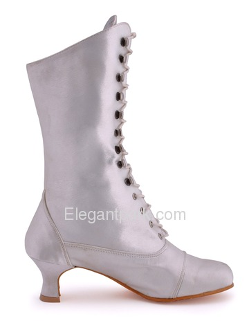 Elegantpark Satin Upper Pumps/Chunky Heel with Shoelace Popular Mid-Calf Wedding Bridal Boots More Colors (MB-039)