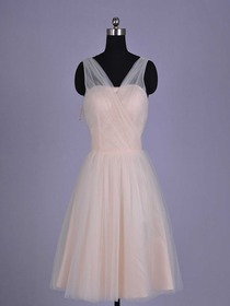 Champagne A-line V-Neck Cocktail Length Netting Bridesmaid Dress
