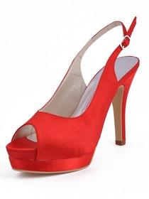 Elegantpark Red Satin Peep Toe Stiletto Heel Slingbacks With Buckle