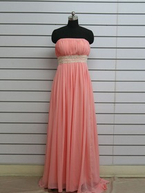 Watermelon Sheath Ruched Floor-length Chiffon Long Bridesmaid Dress