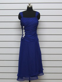Royal Blue Sheath Tank Top Tea-length Chiffon Applique Wedding Party Dress