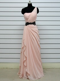 Pink One Shoulder Floor-length Draped Chiffon Beading Formal Evening Dress