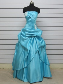 Blue Ball Gown Pick Up Floor-length Satin Appliques Quinceanera Dress